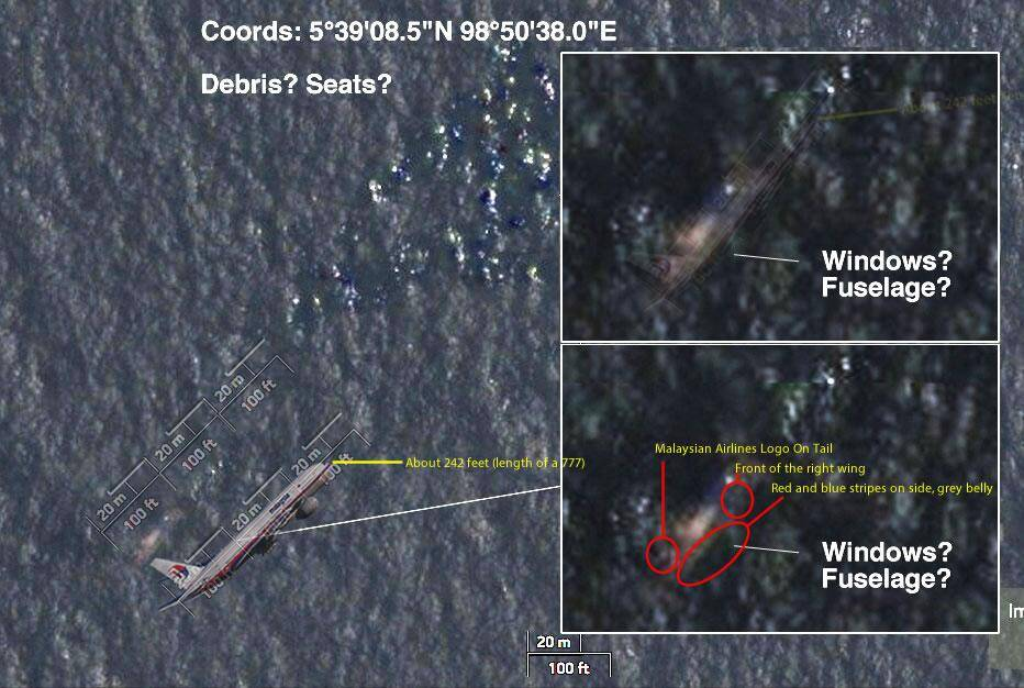 Missing Malaysia Airlines flight MH370 satellite images Taken from the Twitter of Steven Daglas