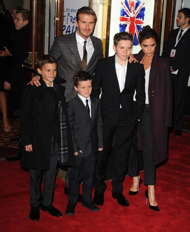 The super stylish Beckham boys with their parents (Picture: PA)